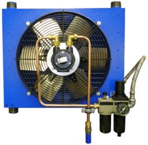 dochladzovač stlačeného vzduchu RA-P spneumatickým ventilátorom